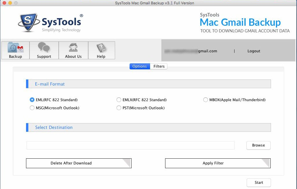 Mac gmail backup tool to backup gmail data in different file formats.