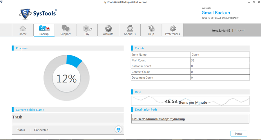 Click to view Gmail Backup Tool 5.0 screenshot
